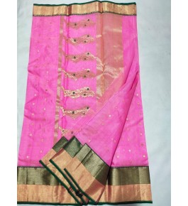 Latest Beautiful Traditional Handloom Chanderi Saree In Pink Color For Women