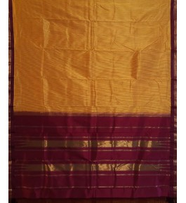 Beautiful Handmade Golden & Brown Colour Molakalmuru Saree For Women