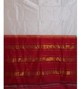 Beautiful Handmade Red & White Colour Molakalmuru Saree For Women
