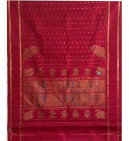 Elegant Handmade Red Colour Molakalmuru Saree For Women