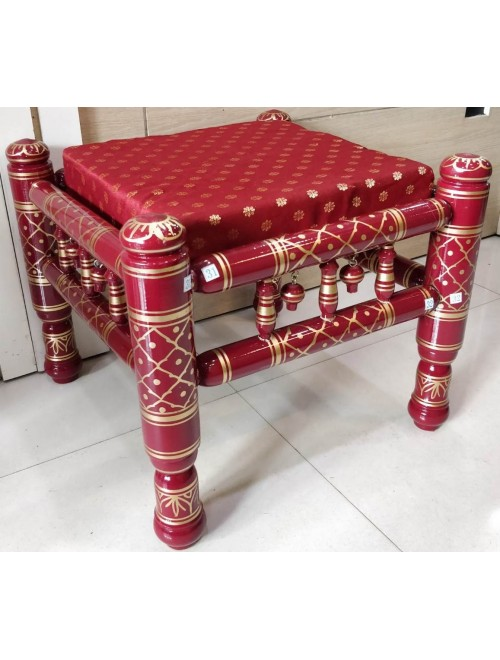 Brightful Red Colour Handicraft Sankheda Wooden Stool (Khatli) for Home furnishing