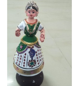 Rolly-Polly traditional hand-made Green & White  Colour Dancing Thanjavur Doll (Thalaiyatti Bommai)