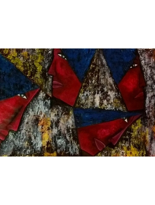 Mysore Traditional Painting Unframed Large Printed Unusual Bright Colorful Geometric Abstract Canvas By Isha's Paintings