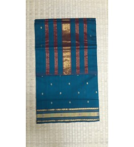 Beautiful Venkatagiri Cotton Blend Zari Work Navy Blue Saree For Women