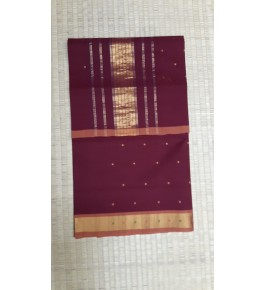 Beautiful Venkatagiri Cotton Blend Zari Work Maroon Saree For Women