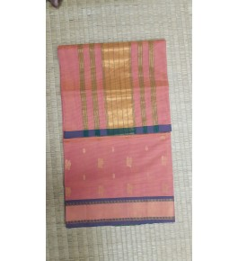 Venkatagiri Cotton Blend Zari Work Baby Pink Saree For Women