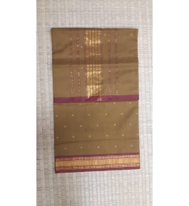 Beautiful Venkatagiri Cotton Blend Zari Work Dark Beige Saree For Women