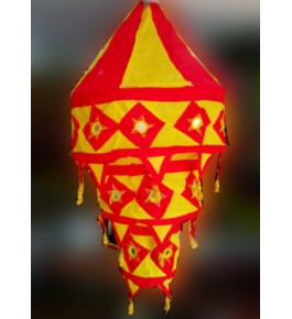 Pipli Traditional Applique Work Red & Yellow Jhumar Ceiling