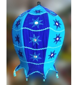 Pipli Traditional Applique Work Blue Jhumar For Ceiling