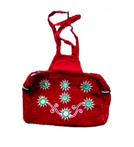 Handmade Pipli Applique Work Traditional Red Hand Bag