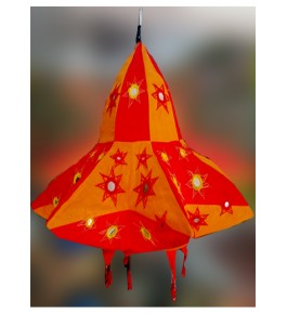 Traditional Pipli Applique Work Red Star Jhumar For Ceiling