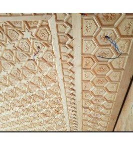 Beautiful Wall Designing Of Khatamband Wood For Wall Decoration Of Charphool In Beige Colour