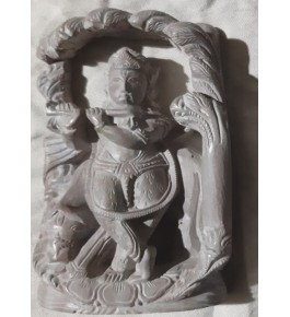 "Traditional Carved Konark Stone Carving Lord Krishna 4"" Statue for Home Decor"