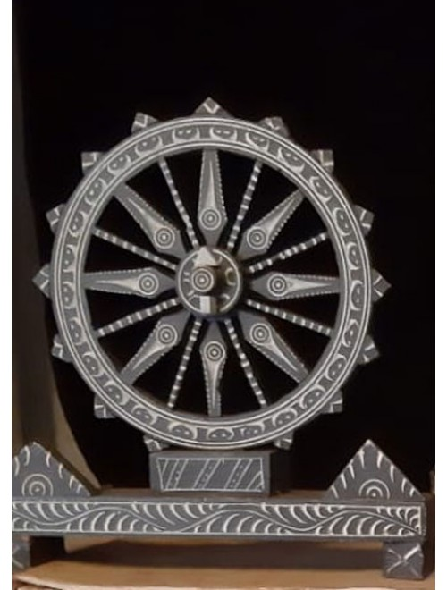 """Traditional Carved Konark Stone Carving 4"""" Chakra Statue for Home Decor"""