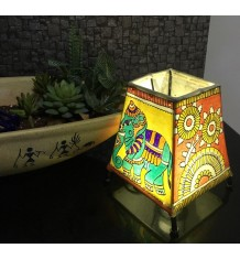 Handmade Andhra Pradesh Leather Puppetry Floor Lighting Lamp Shade In Yellow Colour