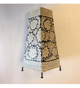 Andhra Pradesh Leather Puppetry Black & White Floor Lamp Shade