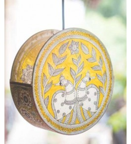 Andhra Pradesh Leather Puppetry Wall Hanging Yellow Lamp Shade