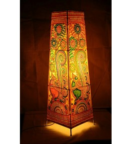 Delightful Andhra Pradesh Leather Puppetry Square Floor Lamp Shade