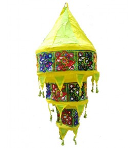 Beautiful Handmade Jhhoomar Pipli Traditional Applique Work Bright Yellow Color