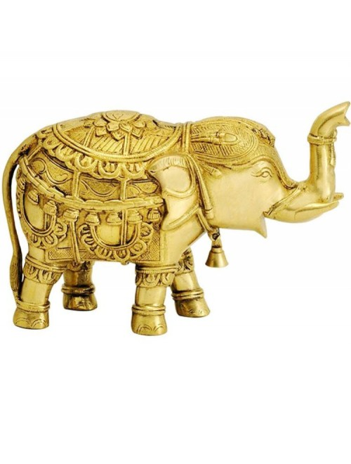 Beautifully Crafted Handmade Brass Yellow Adilabad Dokra Metal Elephant for Home Decor