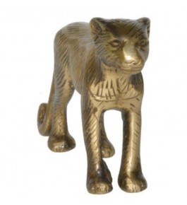 Beautifully Designed Handmade Brass Black Adilabad Dokra Metal Tiger for Home Decor
