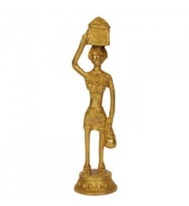 Handmade Brass Long Golden Adilabad Dokra Metal in Man Shape for Home Decor