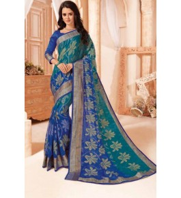 Beautiful Khushi Brasso Blue Saree For Women By Nannuamal Ved Prakash