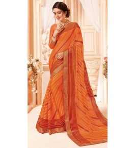 Beautiful Khushi Brasso Orange Saree For Women By Nannumal Ved Prakash