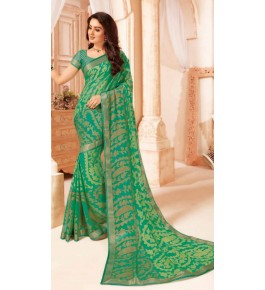 Beautiful Khushi Brasso Green Saree For Women By Nannumal Ved Prakash
