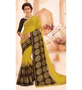 Beautiful Khushi Brasso Yellow Saree For Women By S.M.