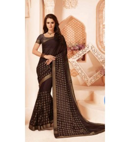 Beautiful Khushi Brasso Brown Saree For Women By Nannuamal Ved Prakash