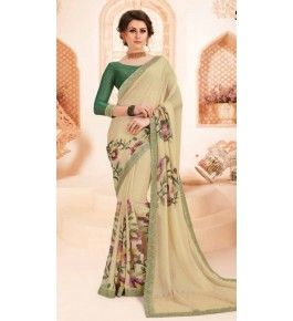 Beautiful Khushi Brasso Beige Saree For Women By Nannumal Ved Prakash