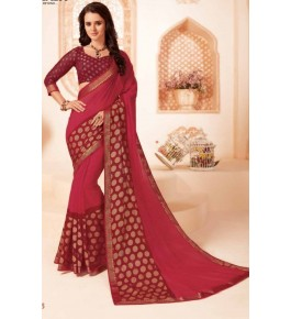 Beautiful Khushi Brasso Maroon Saree For Women By Nannumal Ved Prakash