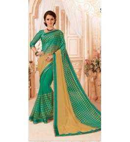 Beautiful Khushi Brasso Turquoise Saree For Women By Nannuamal Ved Prakash