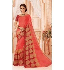 Beautiful Khushi Brasso Peach Saree For Women By Nannumal Ved Prakash