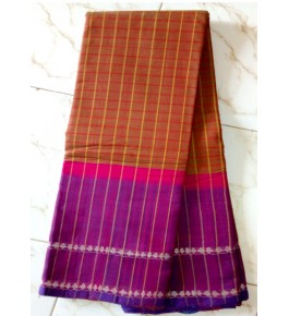 Beautiful Handloom Kandangi Sarees in Brown & Pink  Colour Combination for Women