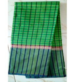 Traditional Handloom Cotton Kandangi Sarees for Women in Green Colour