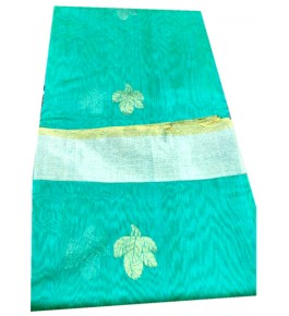 Beautiful Handloom Chanderi Saree in Green & Silver Color for Women
