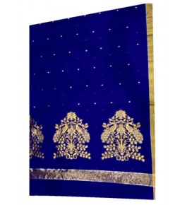 Beautiful Handmade Chanderi Saree in Blue Color for Women