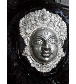 Banaras Metal Repouse Craft Silver Maa Durga Face Sculpture For Wall Decor