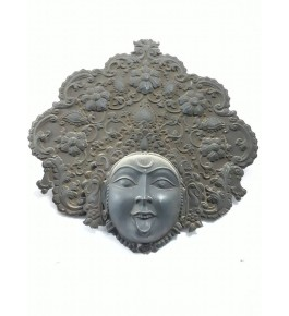 Banaras Metal Repouse Craft Silver Maa Kali Face For Wall Decor