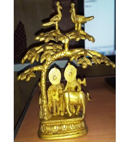Hand Crafted Bell Metal Ware of Datia and Tikamgarh Colourful Radha Krishna with Tree & Birds