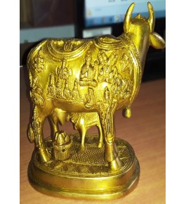 Hand Crafted Bell Metal Ware of Datia and Tikamgarh Cow with Baby Cow