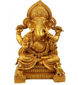 Beautifully Hand Crafted Bell Metal Ware of Datia and Tikamgarh Golden Lord Ganesha