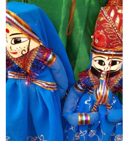 Handcrafted Wooden Face String Puppet Kathputli Pair