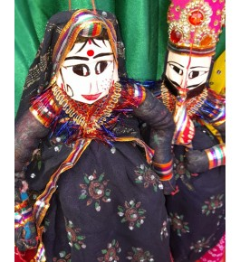 Handcrafted Traditional Wooden Face String Puppet Kathputli Pair