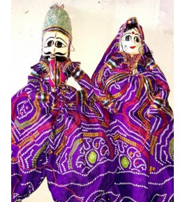 Handcrafted Traditional Beautiful Wooden Face String Puppet Kathputli Pair
