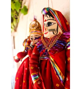 Handcrafted Wooden Face String Puppet Kathputli Of Rajasthan in Pair