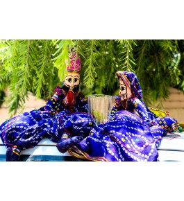 Handcrafted Colourful Wooden Blue Colour Puppet Kathputli Of Rajasthan in Pair