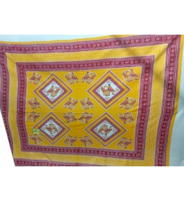 Beautiful Hapur Handloom Cotton Bedsheet in Yellow & Red Color with Pillow Cover for Double Bed